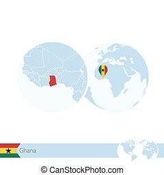 Ghana on world globe with flag and regional map of Ghana....