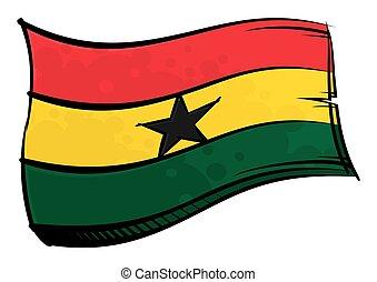 ghana, ondulación, viento, pintado, bandera