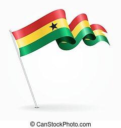 Ghana pin wavy flag. Vector illustration. - Ghana pin icon...