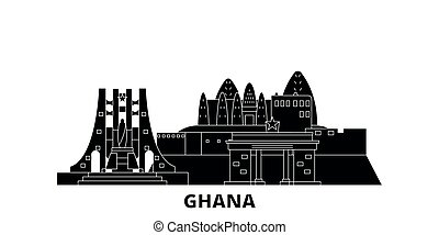 ghana, plat, illustration, voyage, landmarks., symbole, horizon, vecteur, noir, vues, ville, set.