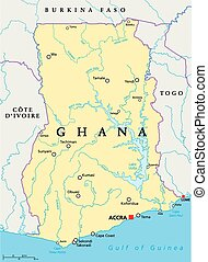 Ghana Political Map with capital Accra, national borders, ...