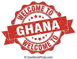 ghana, redondo, cinta, sello