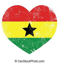 Ghana retro heart shaped flag