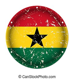 Ghana - round metal scratched flag, screw holes