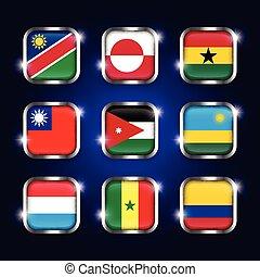 ghana, rwanda, ensemble, scintillement, ), (, acier, quadrangulaire, luxembourg, boutons, verre, sénégal, groenland, namibie, colombie, mondiale, jordanie, taiwan, frontière, drapeaux