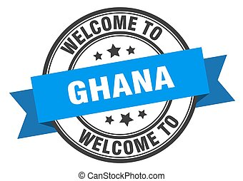 ghana, señal, bienvenida, stamp., azul