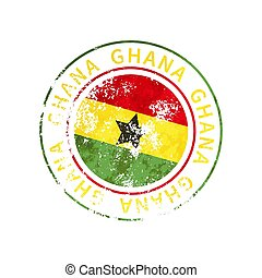 Ghana sign, vintage grunge imprint with flag on white