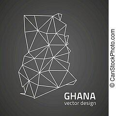 ghana, svart vinkelhake, perspektiv, karta