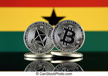 ghana, términos, flag., (btc), bitcoin, cryptocurrencies, 2...