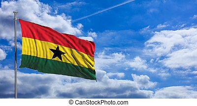Ghana waving flag on blue sky. 3d illustration