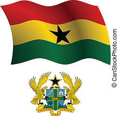 ghana wavy flag and coat of arms against white background,...