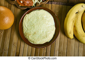 Akple, Ghanaian cuisine, preparation are corn flour, cassava dough, Traditional assorted African dishes, Top view.