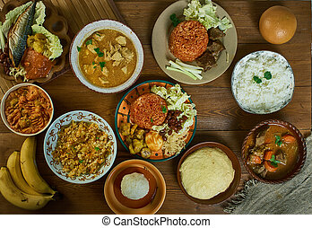 Ghanaian cuisine, Traditional assorted African dishes, Top view.