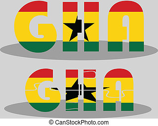 Ghanaian Flag in puzzle isolated on white background