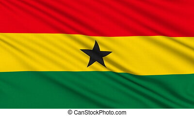 Ghanaian flag, with real structure of a fabric