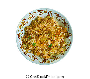 Fried rice, Ghanaian cuisine, Traditional assorted African dishes, Top view.