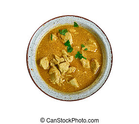 Groundnut Stew, Ghanaian cuisine, Traditional assorted African dishes, Top view.