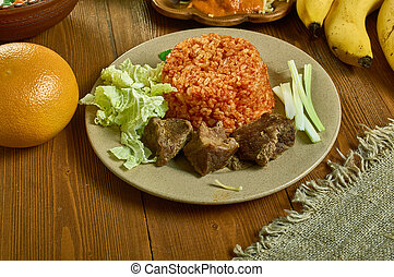 Jollof Rice Beef Kebab , Ghanaian cuisine, Traditional assorted African dishes, Top view.