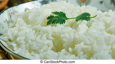 Plain rice, Ghanaian cuisine, Traditional assorted African dishes, Top view.