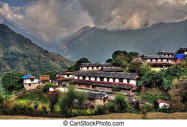 Ghandruk village in Nepal - Ghandruk village in the...