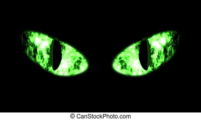 """Ghastly Green Black Cat Eyeballs"" - ""A monstrous 3d..."
