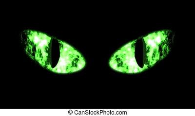 """ghastly, groene, black , eyeballs"", kat"