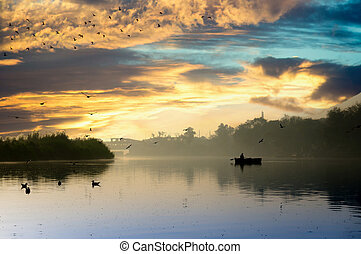 ghat, dorado, temprano, azul, yamuna, niebla, sol, mañana, ...