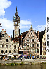 Ghent architecture - Gabled houses and clocktower in Gent,...
