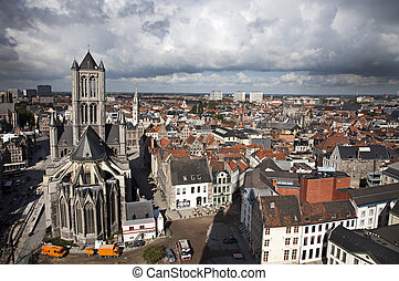 Ghent, Belgium - Bird's eye view of the Ghent city, Belgium...