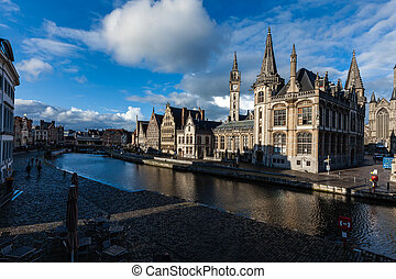 Ghent canal and Graslei street. Ghent, Belgium - Ghent canal...