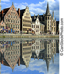 Ghent canal - gabled houses along a canal in Gent, Belgium...