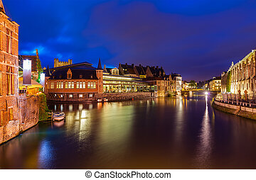 Ghent canal in the evening. Ghent, Belgium