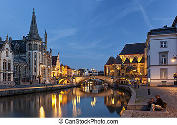 Ghent Canal View At Night, Belgium