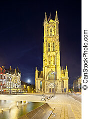 Ghent Cathedral At Night, Belgium