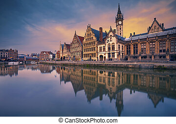 Ghent. - Image of Ghent, Belgium during dramatic twilight.