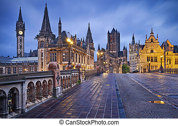 Ghent. - Image of Ghent, Belgium during rainy twilight blue...