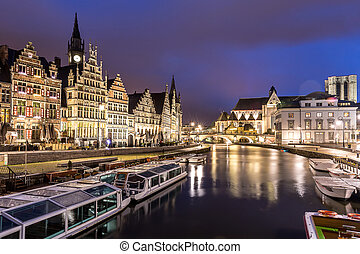 Ghent Old town Belgium - Picturesque medieval buildings on...