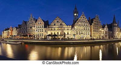 Ghent Panorama At Night, Belgium