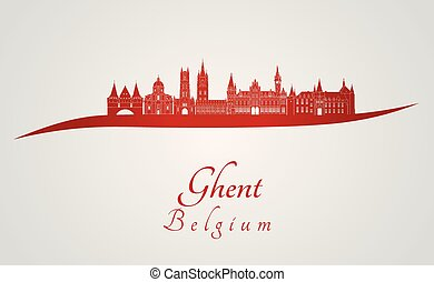 Ghent skyline in red.eps