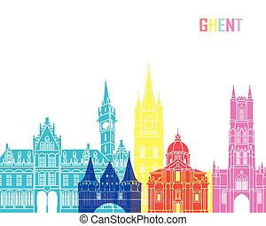 Ghent skyline pop in editable vector file