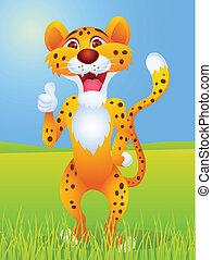 ghepardo, pollice, cartone animato