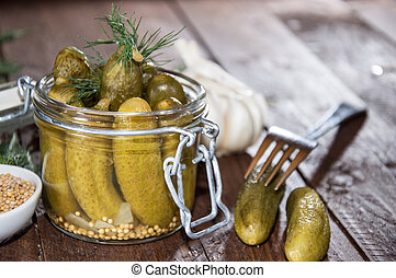 Gherkins in a glass
