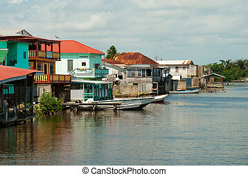 ghetto, Belize City - poor street in ghetto district, Belize...
