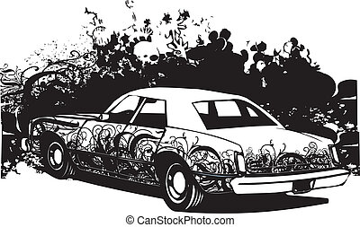 Ghetto car illustration featuring background and graffiti -...
