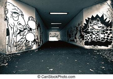 ghetto graffiti in the subway