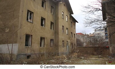 Ghetto poor in Prerov, Skodova street with abandoned former...