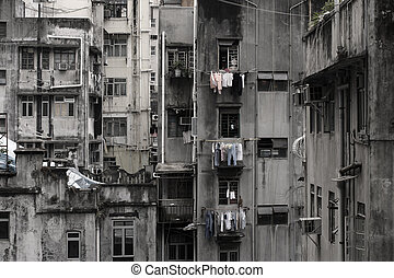 Ghetto - Run-down residential building in the city.