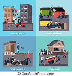 Ghetto Slum Icon Set - Four square flat ghetto slum icon set...