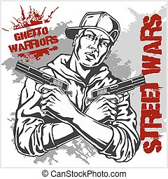 Ghetto Warriors vector illustration. Gangster on dirty graffiti background.