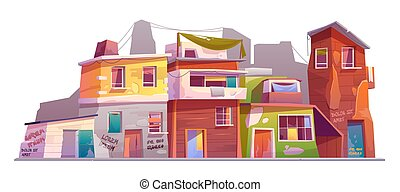 Ghetto with ruined buildings, abandoned old houses with ...